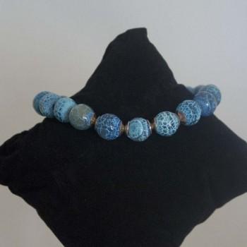 Armband Feuerachat, blau, 925 Silber, 19,5 cm
