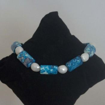 Armband Süßwasserperlen, Sediment-Jaspis, 925 Silber