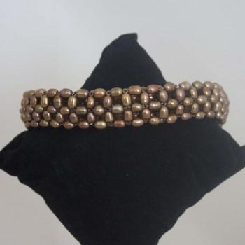 Armband Süßwasserperlen,Stretcharmband, bronze