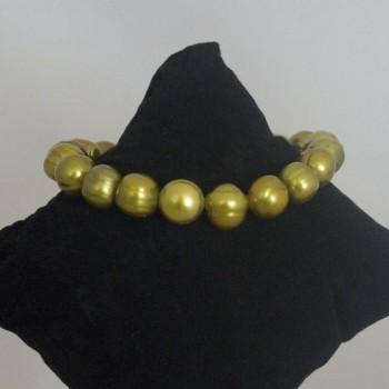 Armband Süßwasserperlen Stretcharmband, golden