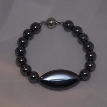 Armband Hämatit, tschechisches Glas, 925 Silber, schwarz