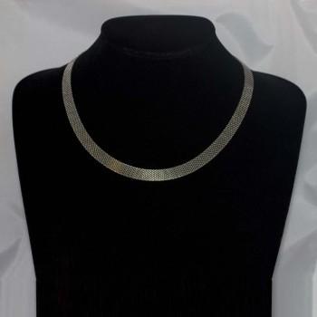 Halskette, Collier Edelstahl, flach, 45 cm