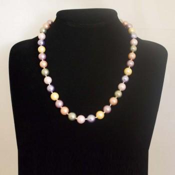 Halskette Muschelkernperlen, Muschelkern-Perlenkette, multicolour, 51 cm