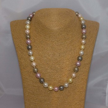 Halskette Muschelkern, Muschelkern-Perlenkette, 50 cm