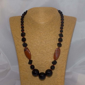 Halskette Onyx, Jaspis, rot, 53 cm
