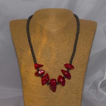 Halskette Hämatit, Korallen, 48 cm