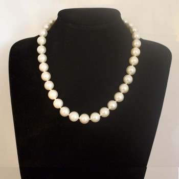 Halskette Muschelkernperlen, Muschelkern-Perlenkette, weiß, 48 cm