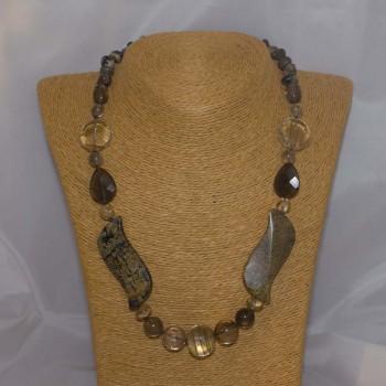 Halskette Bronzit, Jaspis, Rauchquarz, Rutilquarz, 52 cm
