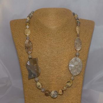 Halskette Achat, Jaspis, 55 cm