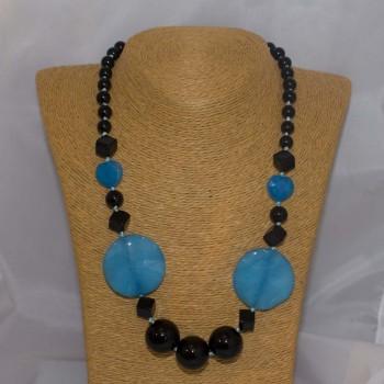 Halskette Onyx, Achat, Jade, 54 cm