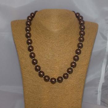 Halskette Muschelkern, Muschelkern-Perlenkette, 48 cm