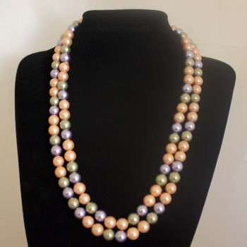 Halskette Muschelkernperlen, Muschelkern-Perlenkette, mehrfarbig, 120 cm