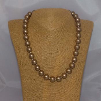 Halskette Muschelkern, Muschelkern-Perlenkette, 46 cm