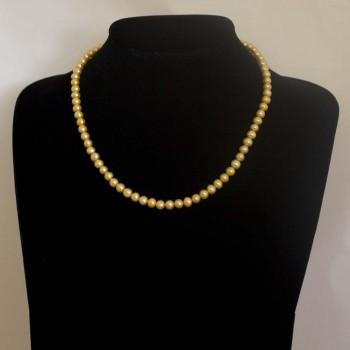 Halskette Süßwasserperlen, orange, 45 cm