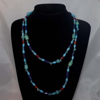 Halskette Howlith, Lapislazuli, Korallen, Endloskette, 127 cm