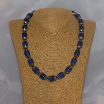Halskette, Collier, böhmisches Glas, 925 Silber, 47 cm