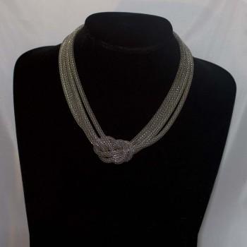 Halskette Edelstahl, Knotenkette, 44 cm