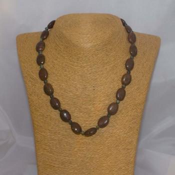 Halskette Bronzit, Achatperlen, 44 cm