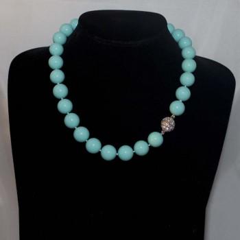 Halskette, Tridacna-Perlenkette, türkis, 47,5 cm