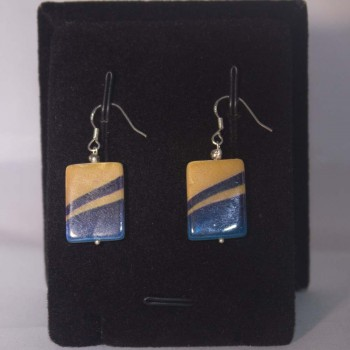Ohrhänger Perlmutt, gestreift, blau, gelb, 925 Silber