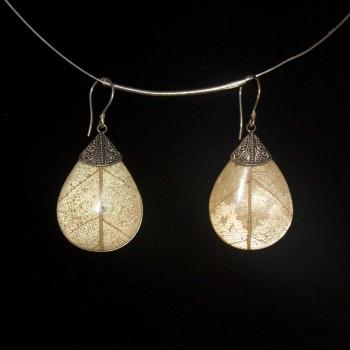 Ohrhänger Perlmutt, Blatt, 925 Silber