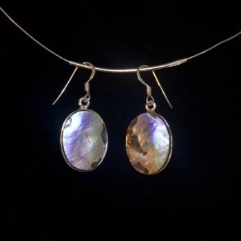 Ohrhänger Abalone, oval, 925 Silber