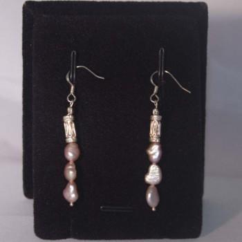 Ohrhänger Süßwasserperlen, rosé, Säule 925 Silber