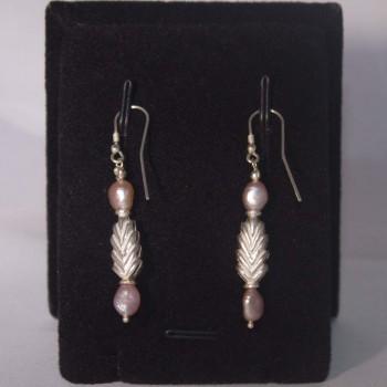 Ohrhänger Süßwasserperlen, rosé, Zapfen 925 Silber