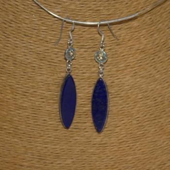 Ohrhänger Lapislazuli, Blautopaz, 925 Silber