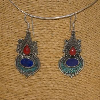 Ohrhänger, Tribal-Ohrhänger, Lapislazuli, Korallen, Türkis, 925 Silber