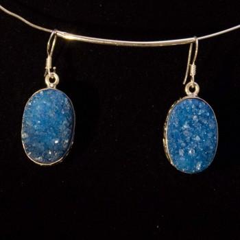 Ohrhänger Achatdrusen, blau, 925 Silber