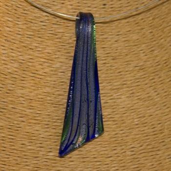 Kettenanhänger, Anhänger Glas, blau, silbern, kupfern
