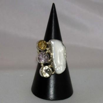 Ring Perle, barock, Citrin, Amethyst, 925 Silber