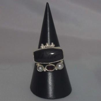 Ring Onyx, Amethyst, Perlen, 925 Silber