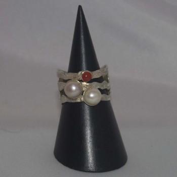 Ring Perlen, Koralle  925 Silber