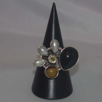 Ring Perlen, Onyx, 925 Silber