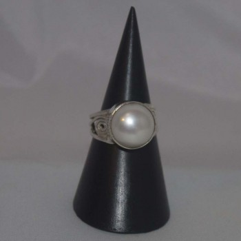 Ring Perle, weiß, 925 Silber