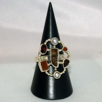 Ring Karneol, Granat, Perlen,  925 Silber