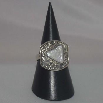 Ring Perlmutt, Dreieck, 925 Silber
