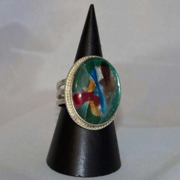 Ring Dichroitisches Glas, Farbeffektglas 925 Silber, Größe 59,5