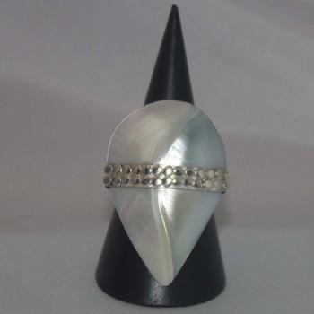 Ring Nautilus Muschel, blau, 925 Silber