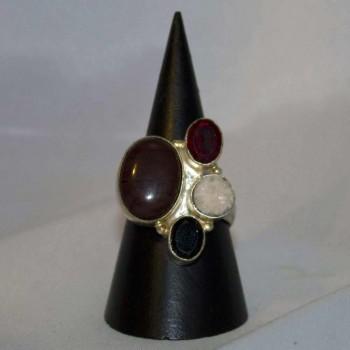 Ring Granat, Achat, Onyx, Druse, silver plated, Größe 59,5