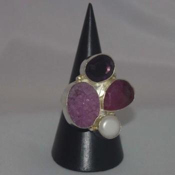 Ring Rubin, Amethyst, Perle, versilbert, silver plated