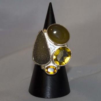 Ring Granat, Achat, Citrin, Druse, silver plated, Größe 51,2
