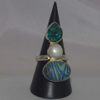 Ring Calsilica, Perle, Kristall, versilbert, silver plated