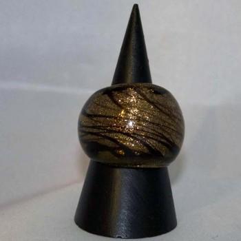 Ring Glas, Glasring, kupfern, schwarz, verschiedene Größen