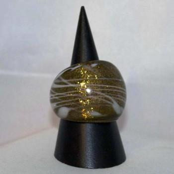Ring Glas, Glasring, kupfer, weiß, verschiedene Größen