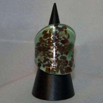 Ring Glas, Glasring, grün, golden,braun, Größe 57