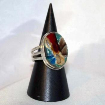 Ring Dichroitisches Glas, Farbeffektglas, 925 Silber, Größe 57,2