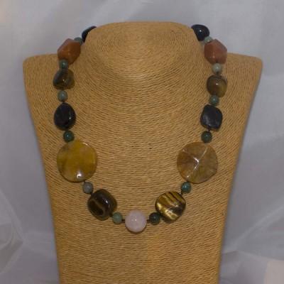 Halskette Tigerauge, Aventurin grün + orange, Tigereisen, Rosenquarz